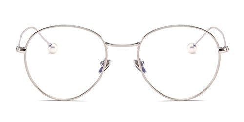 Slocyclub Women Round Metal Eyeglasses Clear Lens Frame - Bans Silver