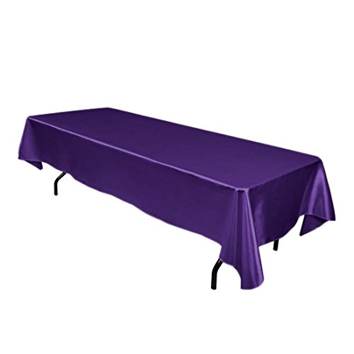 Balanced Life363 Linen Satin Tablecloth Party Tablecovers Table Toppers Cloth Rectangular 59 x 98-Inch (Purple)