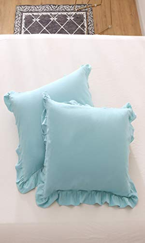 Meaning4 Ruffle Throw Pillow Covers Cases Cotton Aqua Turquoise Teal Square Shams 18 x 18 inches Pack of 2 ()