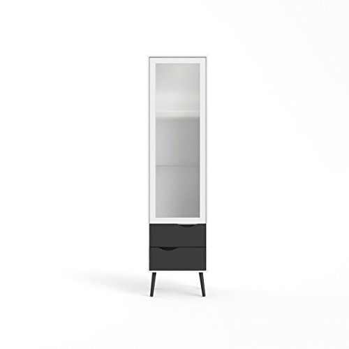 Tvilum 7546149gm Diana 2 Drawer and 1 Door Glass China Cabinet, White/Black Matte -