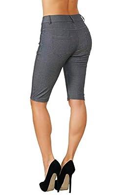 Fit Division Women's Jean Look Cotton Blend Jeggings Tights Slimming Full Lenght Capri Bermuda Shorts Leggings Pants S-3XL
