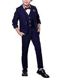 Fengchengjize Boys 3 pcs British Style Plaid Suit Dress Suit Jacket Vest Pants