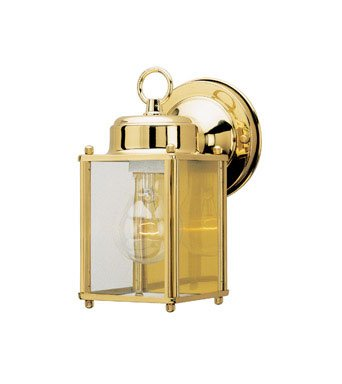 Westinghouse Outdoor Wall Lantern Fix A19 8-1/4 In. Polished Brass Uses 1 Med Base Bx