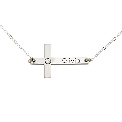 AJ's Collection Personalized Cross Necklace with Birthstone Setting. Upto 9 Characters. Choice of Sterling Silver Chain. Perfect, Birthday Gift. Keep Special Name, Date Near Your Heart. ()