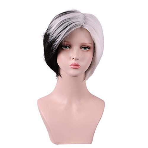 Yilys Women's Short Straight Black And White Halloween Cosplay Wig