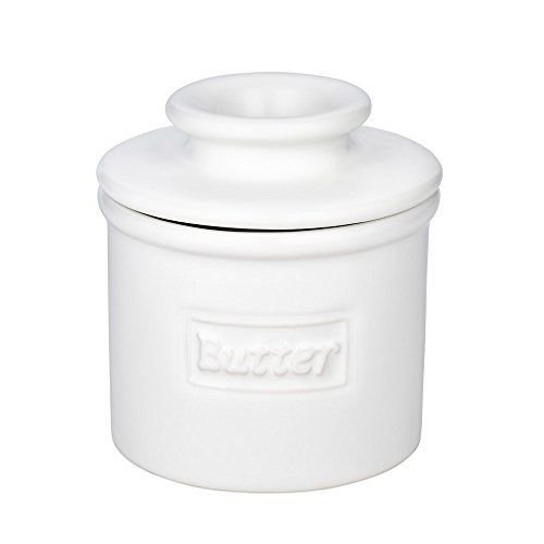 Ceramic Butter Pot (The Original Butter Bell Crock by L. Tremain, Cafe Matte Collection - White Matte)
