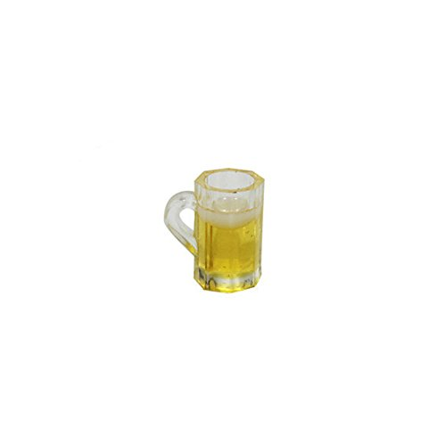 (Kasien Dollhouse Accessory Beer Cup, 1/12 Miniature Scene Model Scale Dollhouse Accessories Mini Beer Cup Mug Kid Toy (Yellow))