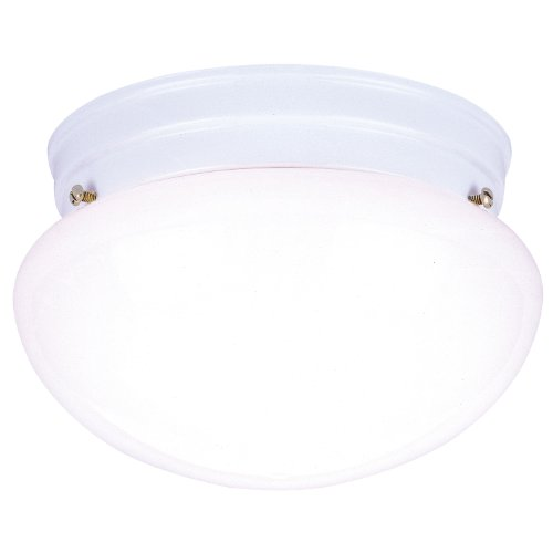 Westinghouse 6661100 Two-Light Flush-Mount Interior Ceiling Fixture, White Finish with White Glass - Ceiling Mushroom