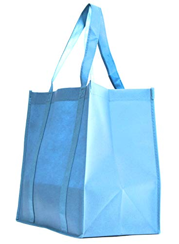 10 Pack Heavy Duty Grocery Tote Bag, Light Blue Color Large & Super Strong, Reusable Shopping Bags with Stand-up PL Bottom, Non-Woven Convention Tote Bags, Premium Quality (Set of 10, Light Blue) ()
