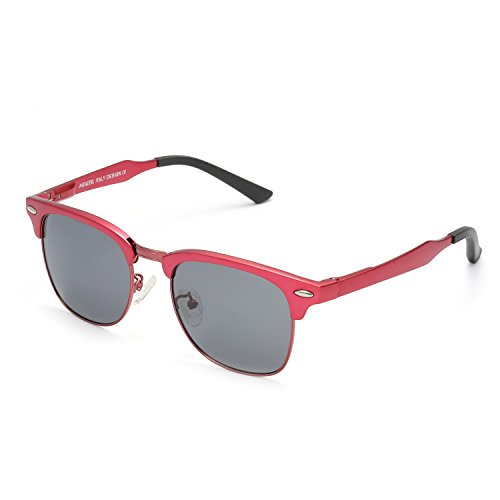 Vintage Round Polarlized Sunglasses 100% UV Protection for Men Women, Al-Mg Metal Alloy Frame (red/ - Made In Usa Sunglass