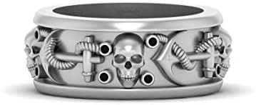 Black Diamond Gothic Skull Pirates Wedding Band Mens Nautical Anchor Skull Band Solid 925 Sterling Silver