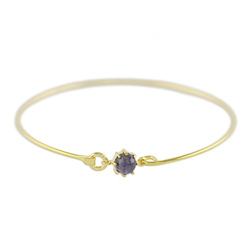 (NOVICA Iolite 18k Gold Plated Bangle Bracelet, 7.5