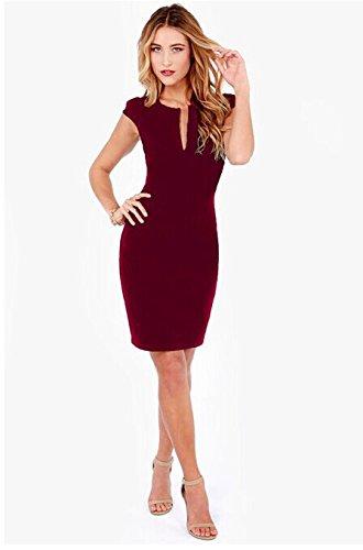 P&XiaoZhong Sexy V-Ausschnitt Dünnes Sleeveless Kleid , wine red , s