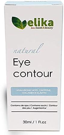 """Contorno de Ojos """"Carlotta"""" de Elikafoods®. Ácido hialurónico, cafeína, colágeno y elastina. Tratamiento anti-bolsas y ojeras. Para mujer y hombre, indicada para cualquier tipo de piel, 30ml."""