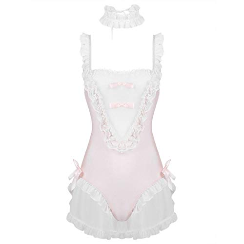 LXLXCS Womens Erotic Lingerie Set Sex Costume Cute Japanese Style Roleplay Outfit Ruffle Leotard Bodysuit with Choker…