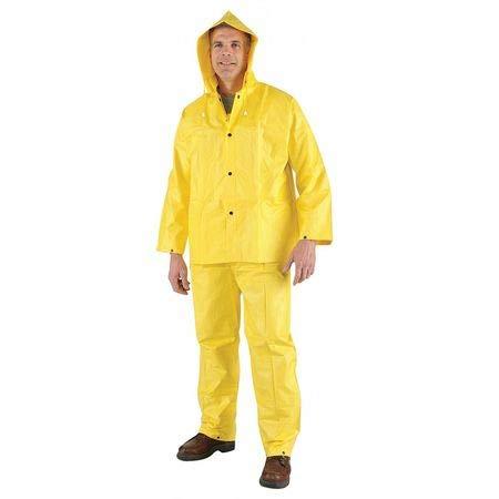 3 Pc. Rainsuit w/Detach Hood, Yellow, L