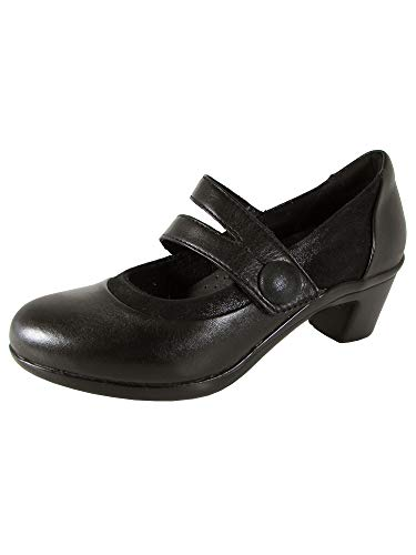 Aravon Womens Lexee Mary Jane Pump Shoes, Black Leather, US 5.5