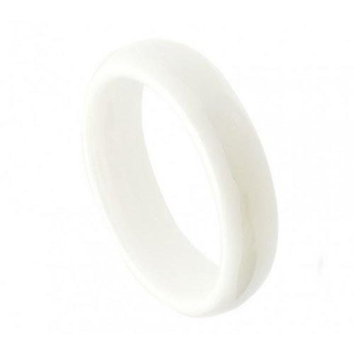 5mm White Ceramic High Polish Domed Wedding Band Ring (Sizes 5 to 10) Please E-mail Sizes