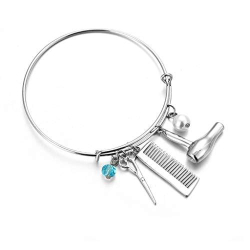 -  Orcbee  _Creative Design Scissors Hair Dryer Comb Pendant Bracelet Ladies Jewelry