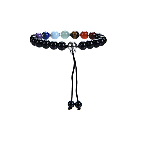 Cherry Tree Collection Mala Bracelet | 8mm Natural Gemstone Round Beads, Guru Bead, Durable Nylon Cord | Adjustable Length | Men and Women (Chakra - Black Tourmaline - -