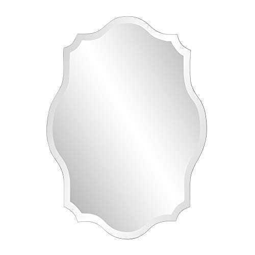 Howard Elliott Frameless Scalloped Hanging Wall Mirror, Oblong (24 x 32 x -