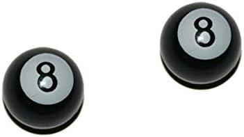 2er Set Ventilkappen - Eight Ball - in schwarz für Motorrad