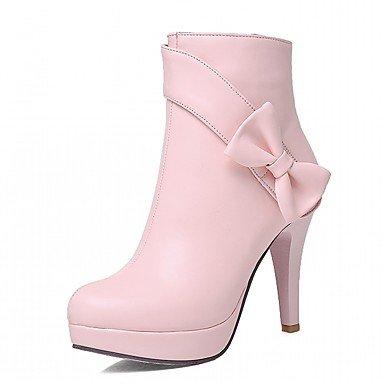 Bowknot UK1 CN32 RTRY Invierno Botas De EU33 Pu Zapatos 5 Toe Botines Mujer De Novedad Piel Botas Moda Sintética Confort 5 Botines Round US3 Talón De Stiletto Otoño 41Aw4qp