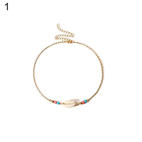 - Brave669 Simple Shell Pattern Fashion Choker Necklace Golden