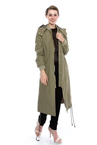 Daisy Women's Zipper Pocket Detail Hooded Long Waterproof Jacket. (M, OLIVE)