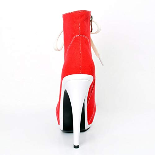 Booties CASSOCK Ladies Fashion High Reds Work Shoes Ankle Heel Demin Patch Handmade Boots v1TaxqSvwF