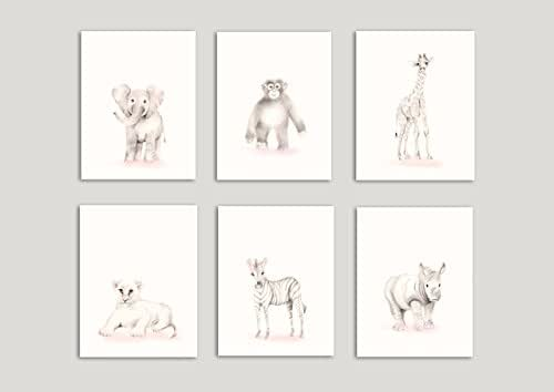 Safari Nursery Art, Set of 6 Prints, Elephant, Giraffe, Monkey, Lion, Zebra, Rhino, Sweet Blush, Various Sizes Available, Unframed Prints