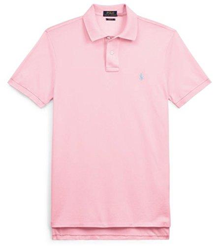 Polo Ralph Lauren Men Custom Fit Mesh Pony Logo Shirt (L, CarmelPink) (Ralph Lauren Alpine)