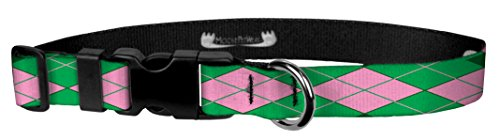 Moose Pet Wear Dog Collar - Patterned Adjustable Pet Collars, Made in the USA - 1 Inch Wide, Medium, Argyle Green & Pink