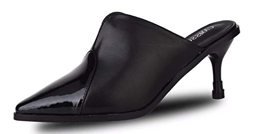 CAMSSOO Women's Slingback Comfortable Pointed Toe Kitten Heel Pumps Sandals Black Size US7 EU37 ()