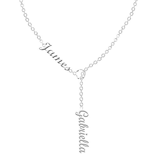 Ouslier 925 Sterling Silver Personalized Double Names Necklace Custom Made with 2 Names 16