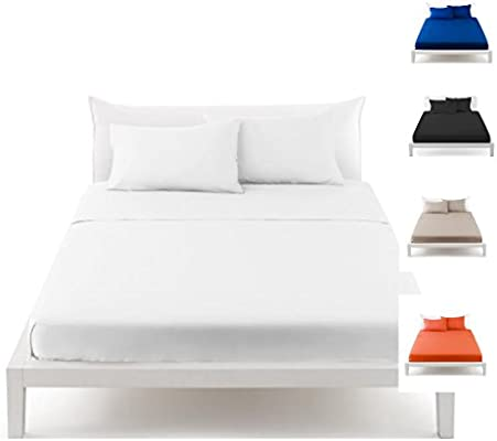 Irge - Juego de sábanas de puro algodón en varios colores lisos ...