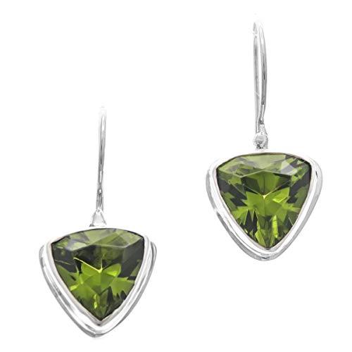 9/16'' 10CT Trillion Peridot 925 Sterling Silver Earrings -