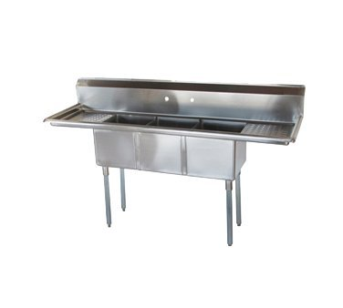 Turbo Air Stainless Steel 3 Compartment Sink With 16'' Drainboard