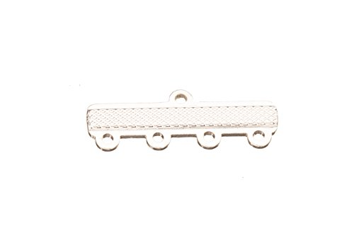Flat 4-Loop Silver Plated Brass End-Bar 9x25mm sold per pack of 6