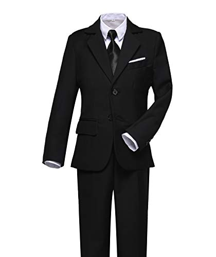 Visaccy Kids Suits Boy Slim Fit Formal Wear Black Boys Suit Size 12 ()