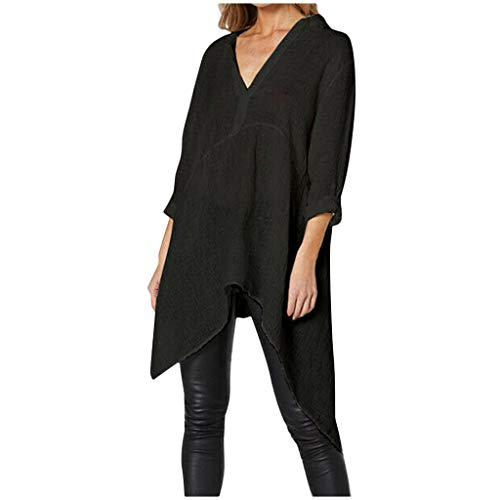 Amlaiworld Fashion Women Plus Size Blouse Office Lady Shirt V-Neck Solid Long Sleeve Tee Tops Cotton Asymmetric Tops Black (10 Best Foosball Videos)