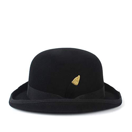Copa Dress Moda Hat Lana Floppy Negro Gorra Negra Winter color 61cm Fedora Dome Bowler Tamaño De Negro Brim Sombrero Trilby Jazz Warm nFO55x