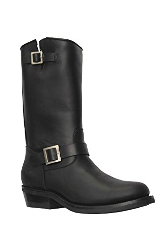Alti in Pelle Sole Smooth Leather West New Black Boots Unisex Rebel Grinders vw1Zzqq
