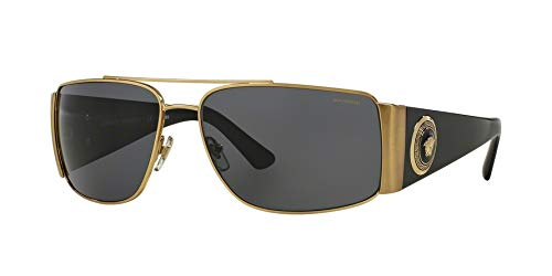 Versace Man Sunglasses, Gold Lenses Metal Frame, 63mm, Gold, Size 63/15/135 by Versace