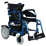 Remedies Folding Electric Wheelchair with Footrest and Batteries, Blue/Black