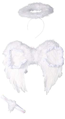 AMSCAN White Deluxe Angel Accessory Kit for Teens and Adults, One Size, 3 Pieces -
