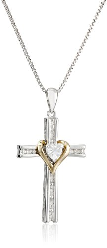 - Sterling Silver and 14k Gold White Topaz Heart and Diamond-Accent Cross Pendant Necklace, 18