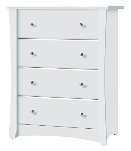 Storkcraft Crescent 4 Drawer Chest, White Kids Bedroom Dresser with 4 Drawers, Wood & Composite Construction, Ideal for Nursery, Toddlers Room, Kids Room from Storkcraft