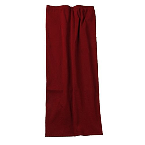 SIMPVALE Mujer Lápiz Mediados Faldas Oficina de Mediados de Cintura Sólida Delgado de La Cadera Placketing Faldas Señora Burdeos