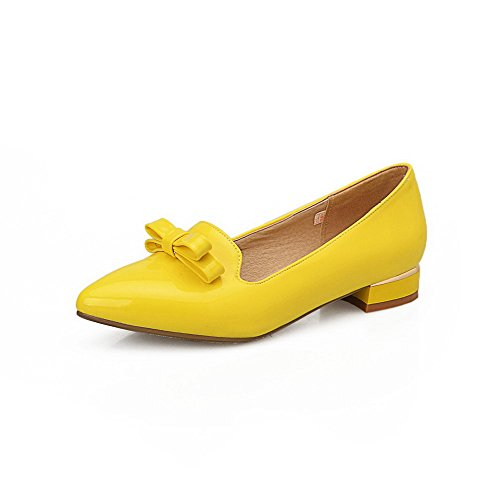 Odomolor Women's Low-Heels Solid Pull-on Patent Leather Pointed Closed Toe Pumps-Shoes Yellow jq1CuGJRq